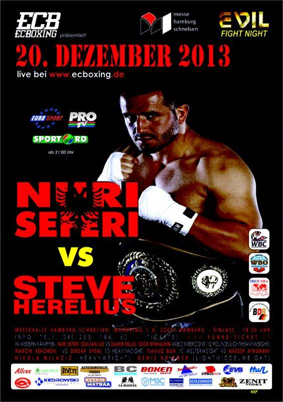 Fightcard 20.12.2013 Hamburg undercard with Nuri Seferi vs Steve Herelius
